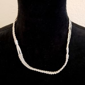 Silver Beaded & Gray Leather Necklace